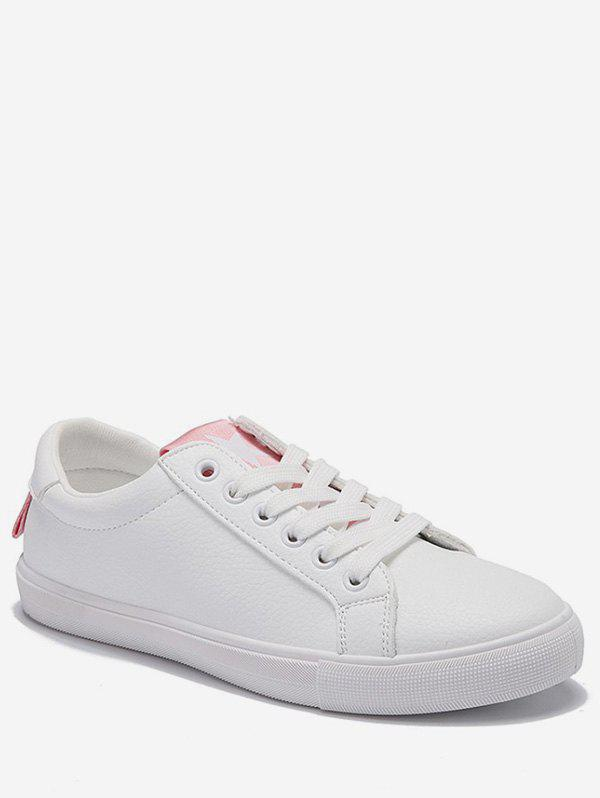 Low Heel Lightweight Contrasting Color Skate Shoes - LIGHT PINK 35