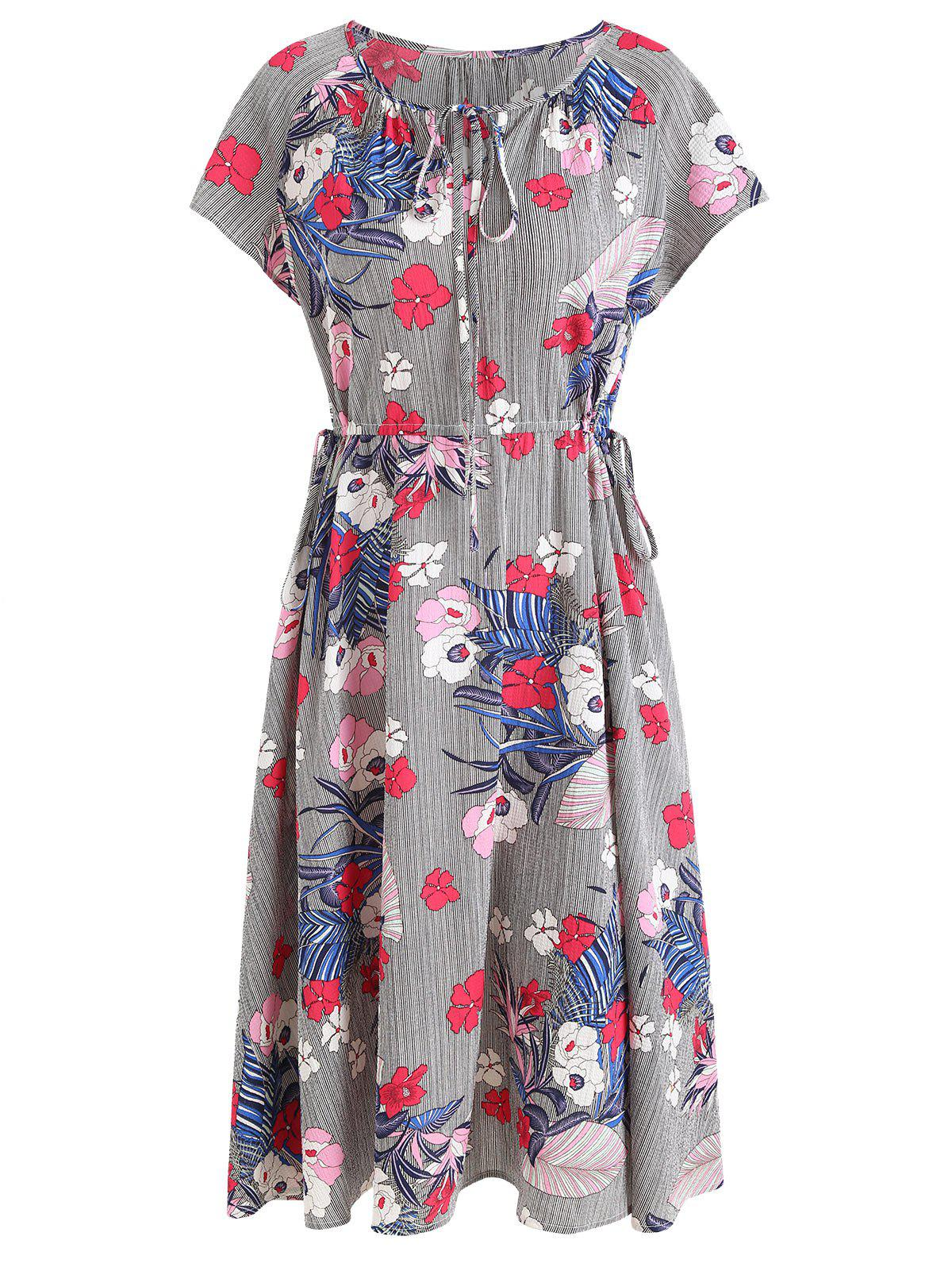 Floral Stripe Dress - multicolor M