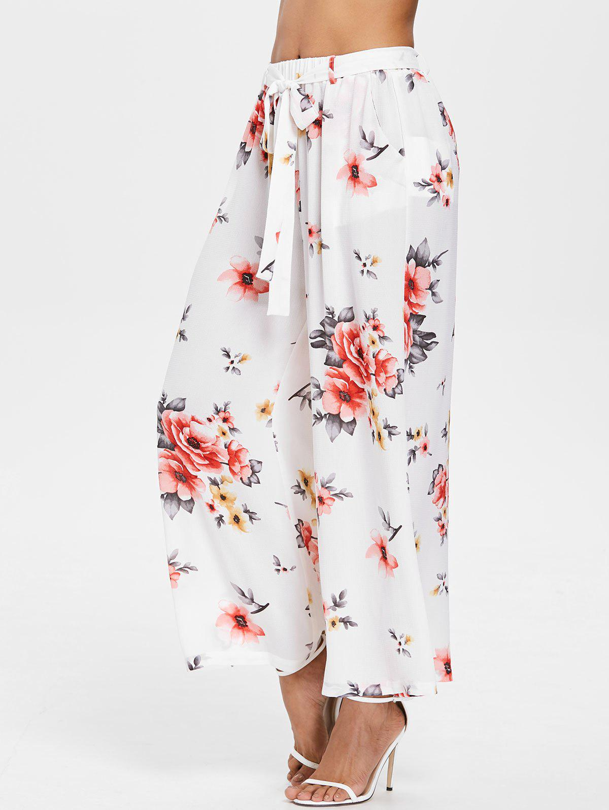 High Waisted Floral Print Palazzo Pants - WHITE XL