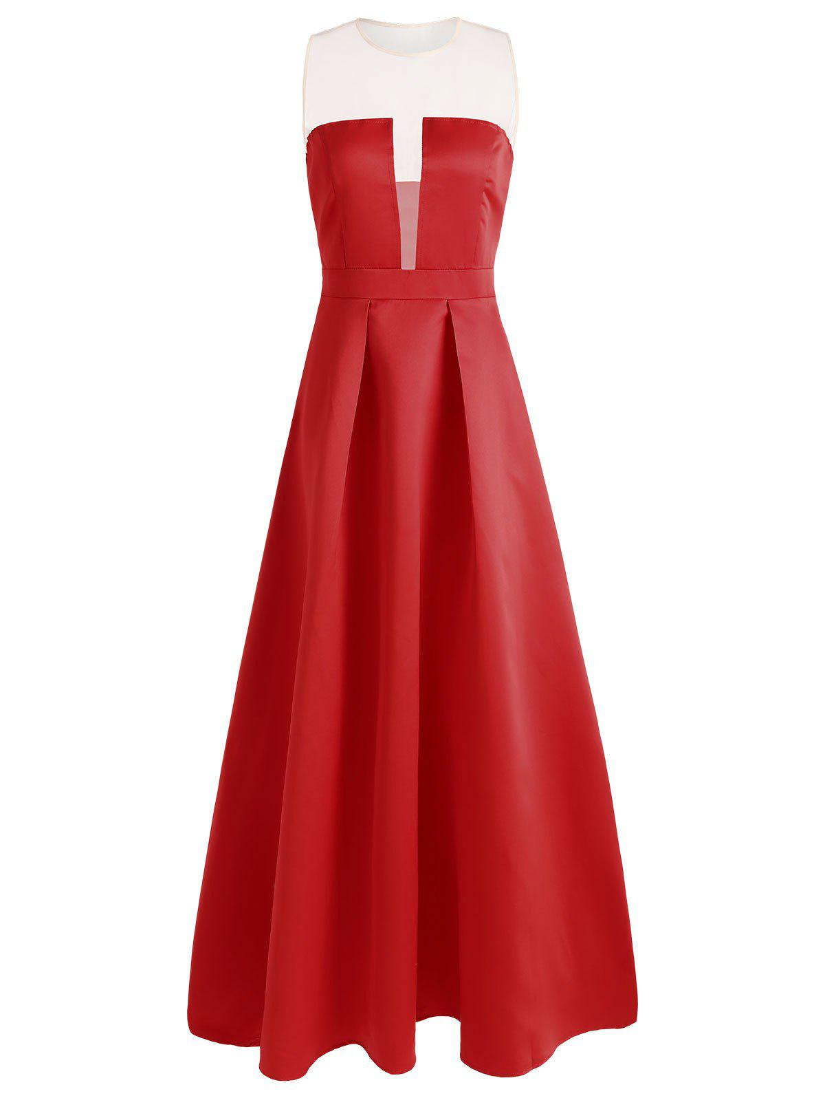 Mesh Panel Maxi Prom Dress - RED S