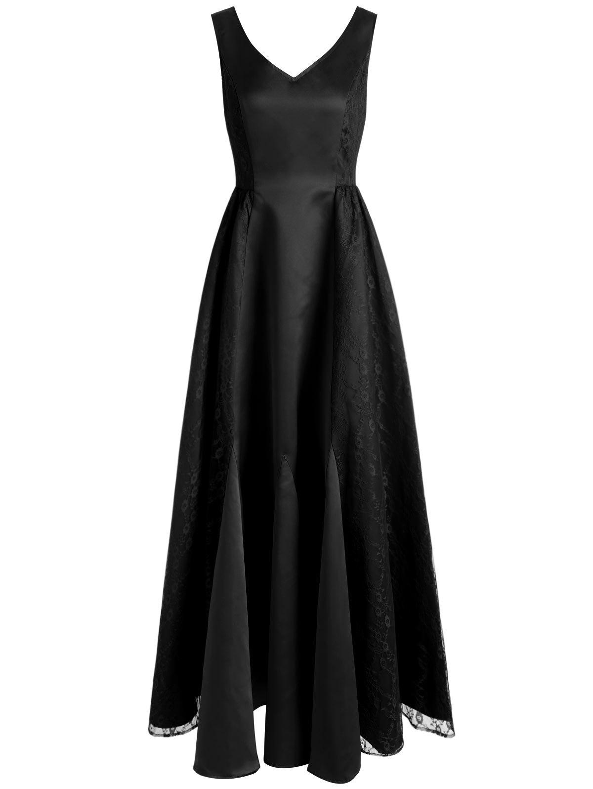 Lace Panel Maxi Formal Dress - BLACK L