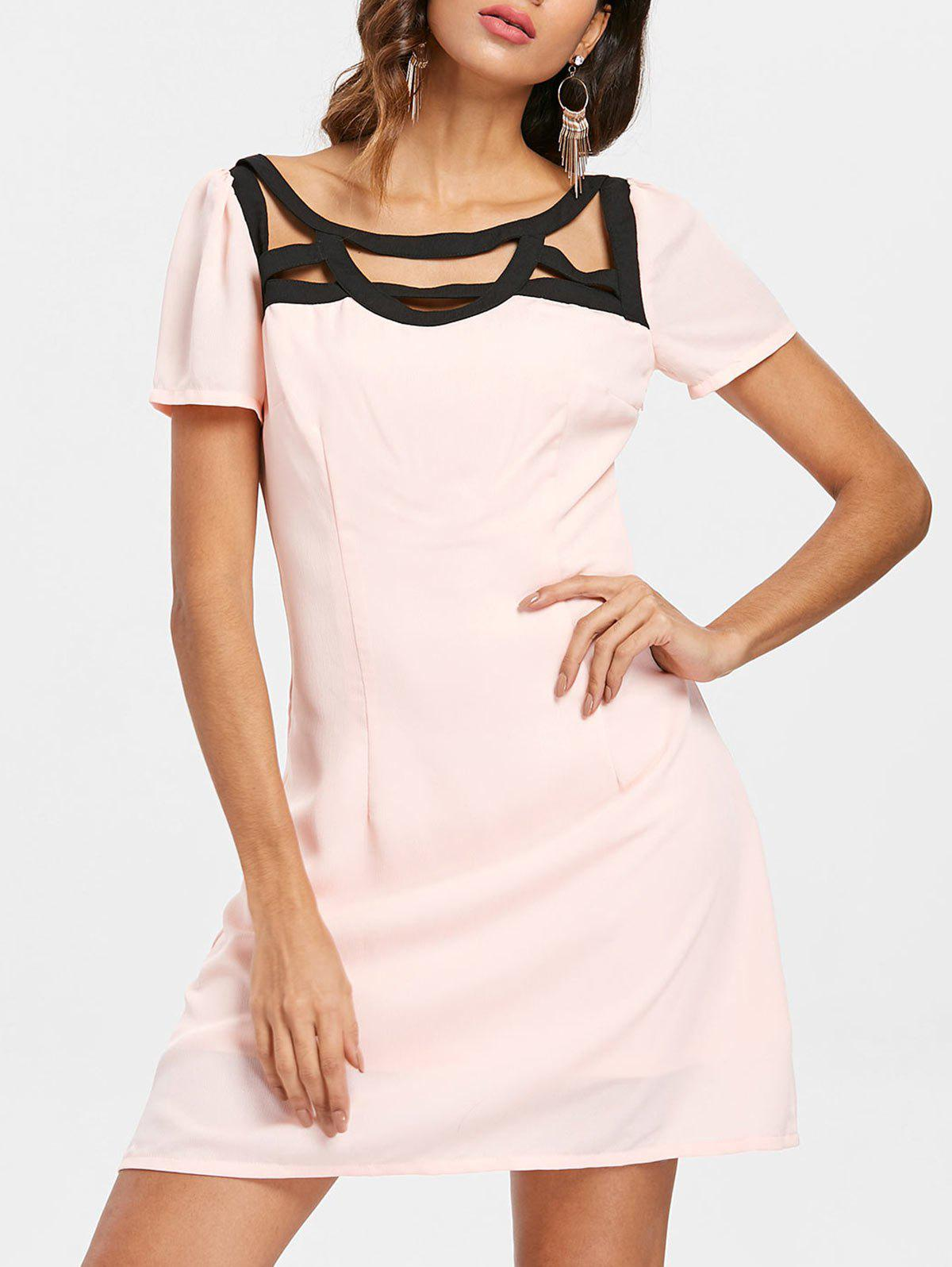 Cage Detail Mini Dress - LIGHT PINK L