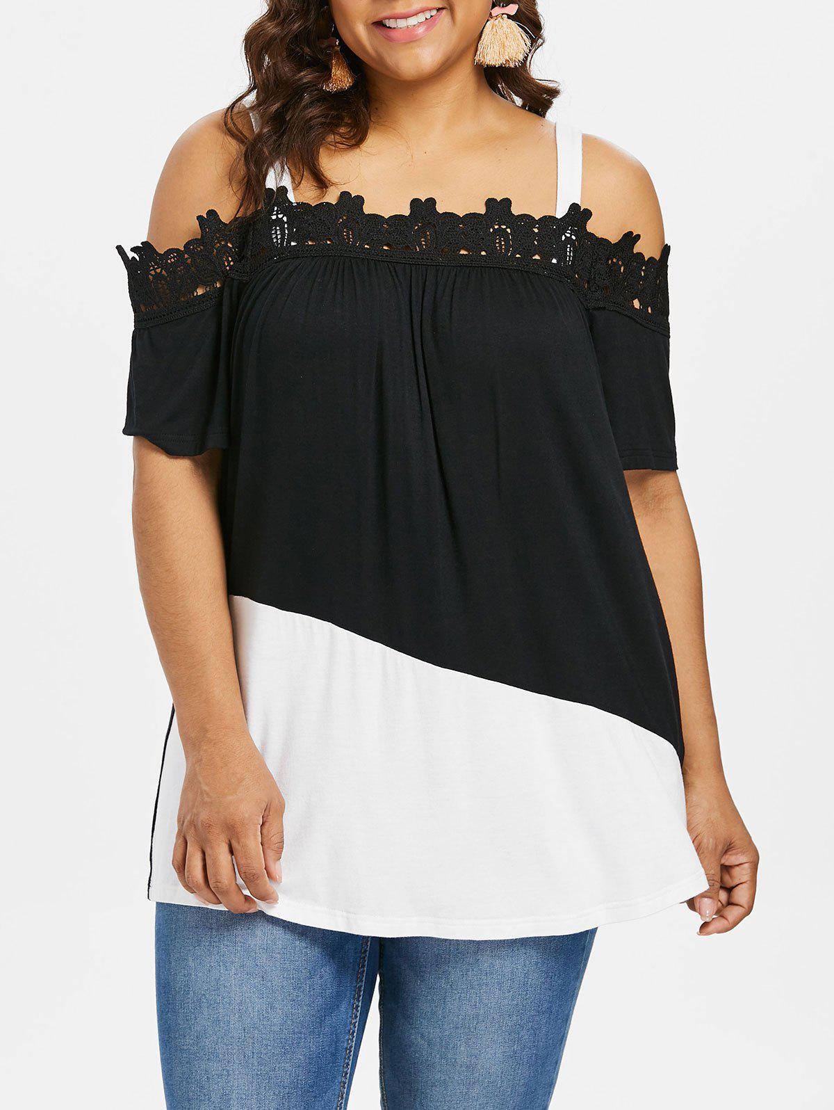 Plus Size Applique Color Block Long Tee - BLACK 4X