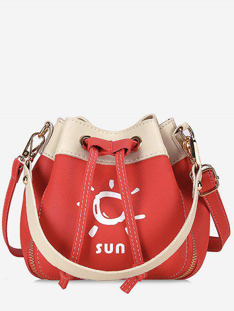 Bucket Shaped Color Block Print Crossbody Bag - FIRE ENGINE RED