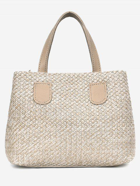 Contrasting Color Minimalist Leisure Handbag with Strap - LIGHT KHAKI