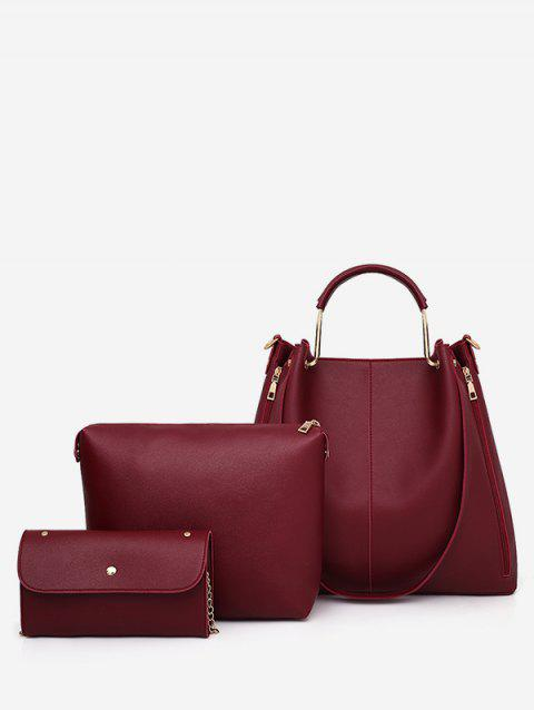 Top Handle Faux Leather Multi Functions 3 Pieces Tote Bag Set - RED WINE