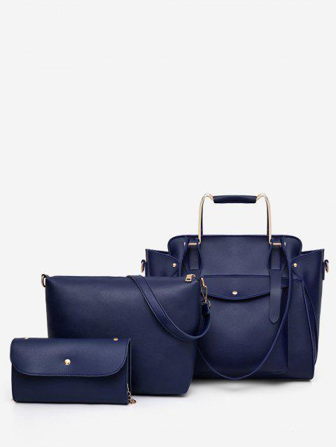 Casual Holiday Minimalist 3 Pieces Tote Bag Set - DEEP BLUE