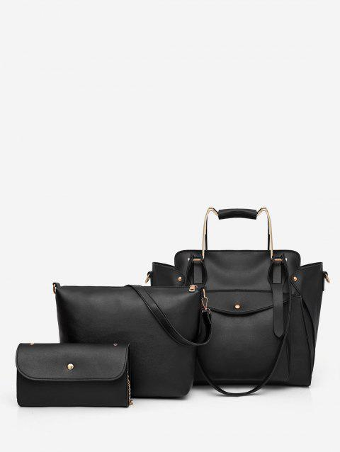 Casual Holiday Minimalist 3 Pieces Tote Bag Set - BLACK
