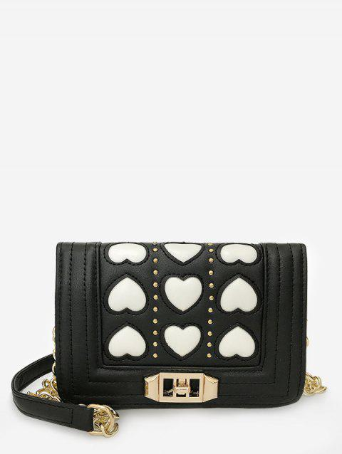Metal Chain Contrasting Color Studs Crossbody Bag - WHITE