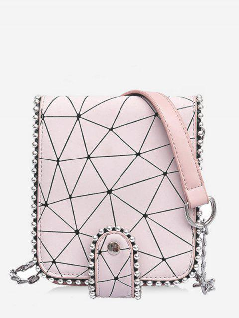 Daily Casual Beaded Geometric Pattern Sling Bag - PINK