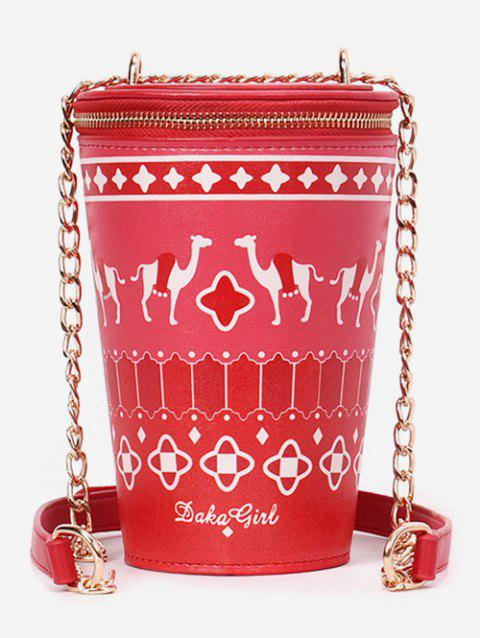 Patchwork Print Bucket Shaped Sling Bag - RED