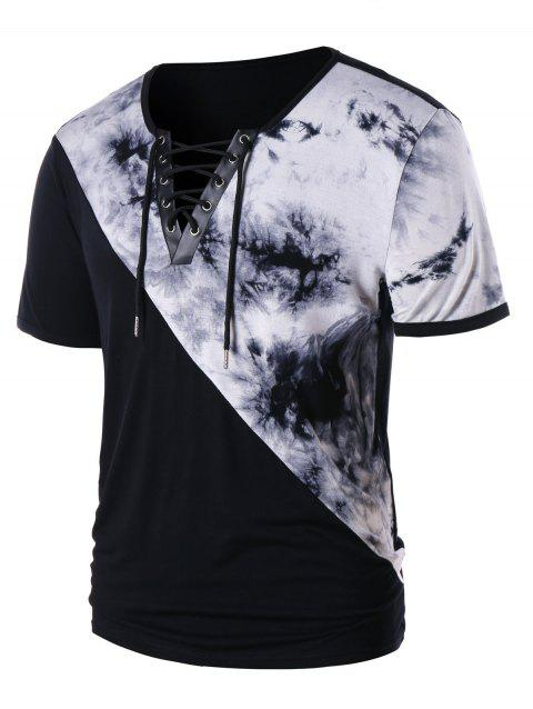 Tie Dye Lace Up Short Sleeve T-shirt - BLACK 2XL