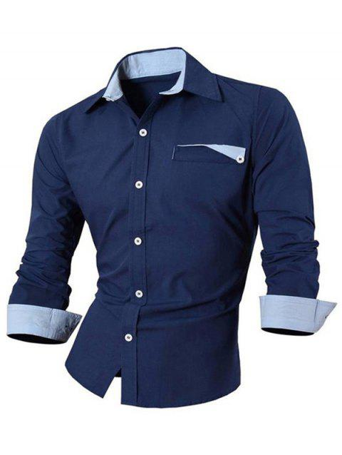 Hot Sale Turn Down Collar Single Breasted Shirt For Men - PURPLISH BLUE M
