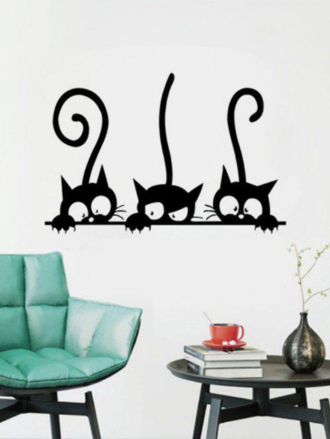 Funny Kitten Print Removable Wall Sticker - BLACK
