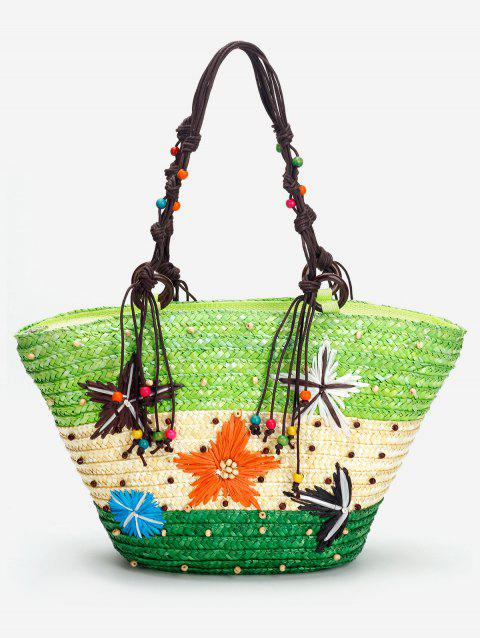 Patchwork Contrasting Color Beaded Studs Tote Bag - GREEN