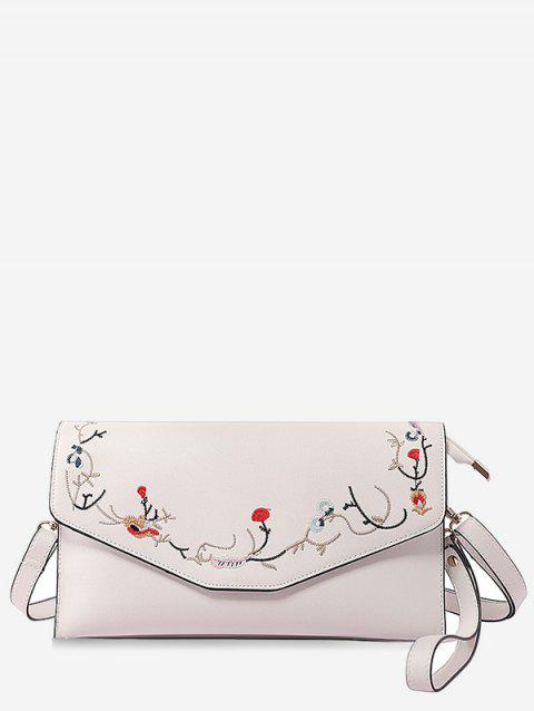 Floral Embroidery Flap Chic Sling Bag - WHITE HORIZONTAL