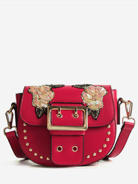 Studs Embroidery Sequined Chic Sling Bag - RED