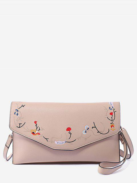 Floral Embroidery Flap Chic Sling Bag - LIGHT KHAKI HORIZONTAL