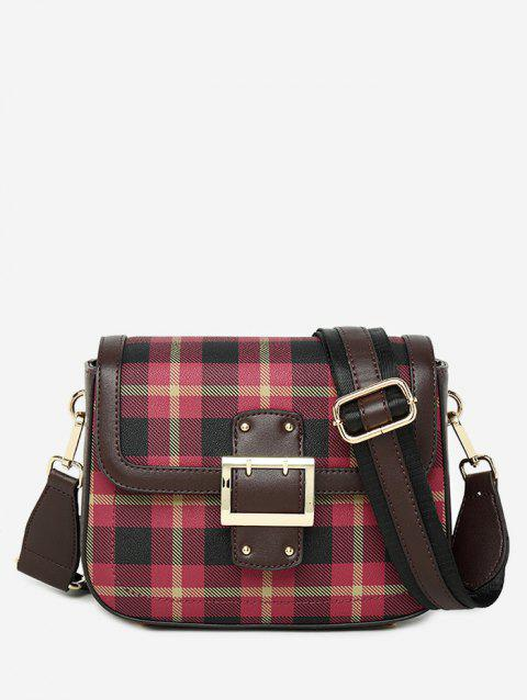 Checkered Color Block Chic Crossbody Bag - COFFEE HORIZONTAL