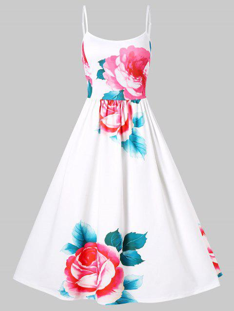 Spaghetti Strap Floral Fit and Flare Dress - WHITE L
