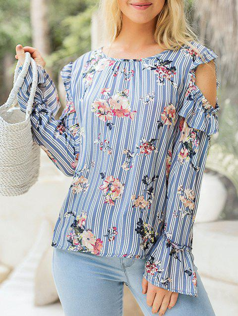 Striped Ruffle Cold Shoulder Printed Blouse - BLUE KOI L
