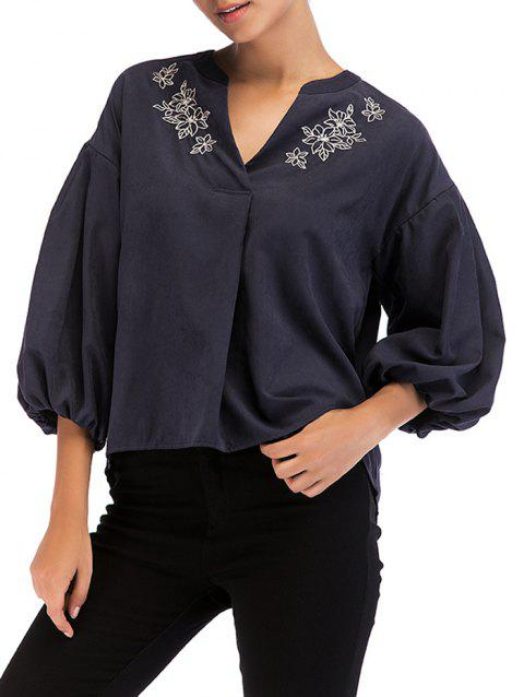 Vintage Floral Embroidery Lantern Sleeve Top - DEEP BLUE M