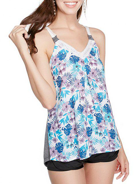 V Neck Floral Print Casual Tank Top - multicolor A S