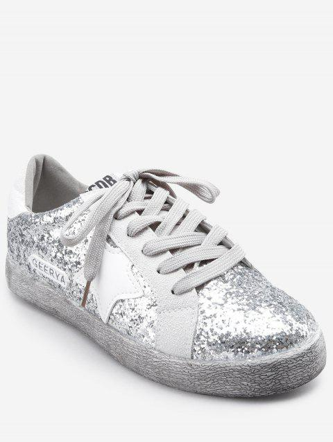 Sparkling Glitters Star Outdoor Casual Sneakers - SILVER 36