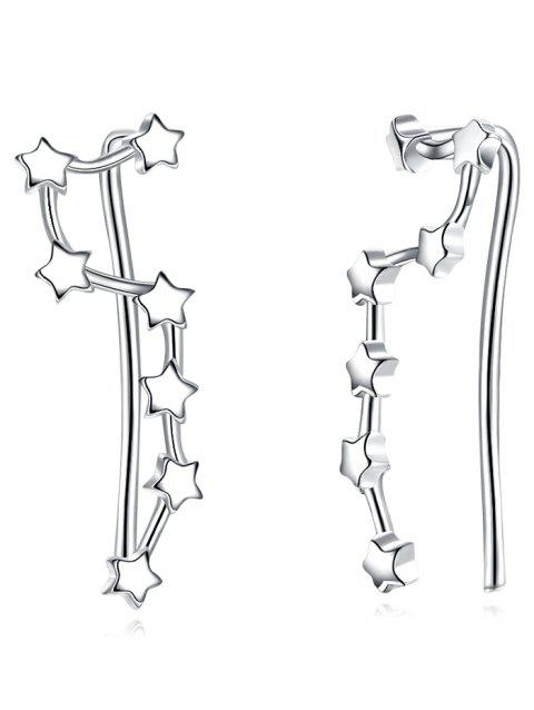 Pair of Irregular Star Party Drop Earrings - SILVER