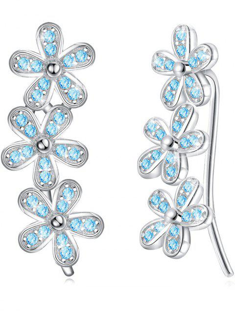 Pair of Colored Crystal Floral Pendant Earrings - BLUE ZIRCON