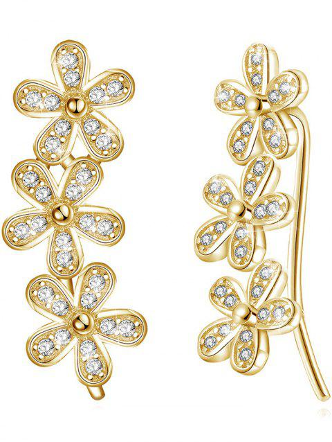 Pair of Colored Crystal Floral Pendant Earrings - CHAMPAGNE GOLD