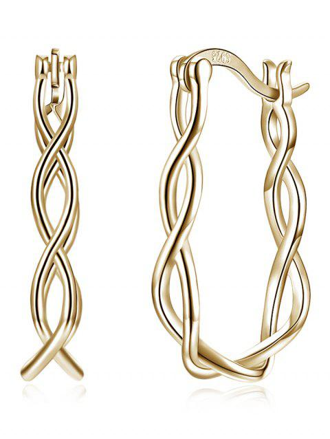 Twisted Rope Hinged Back Earrings - CHAMPAGNE GOLD