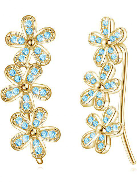 Pair of Colored Crystal Floral Pendant Earrings - BLUE LAGOON