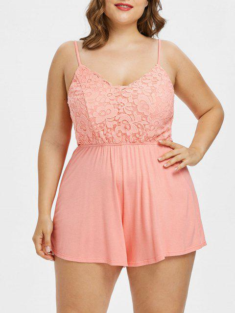 Plus Size Scalloped Lace Trim Cami Romper - LIGHT PINK 1X