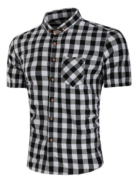 Check Pocket Design Button Down Shirt - BLACK L