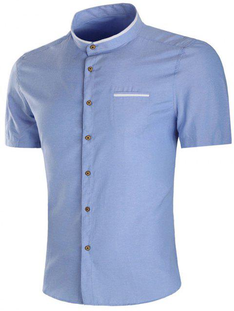 Casual Faux Pocket Short Sleeve Shirt - LIGHT BLUE 2XL