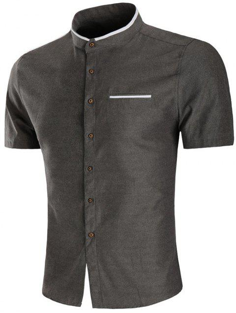 Casual Faux Pocket Short Sleeve Shirt - DARK GRAY 3XL