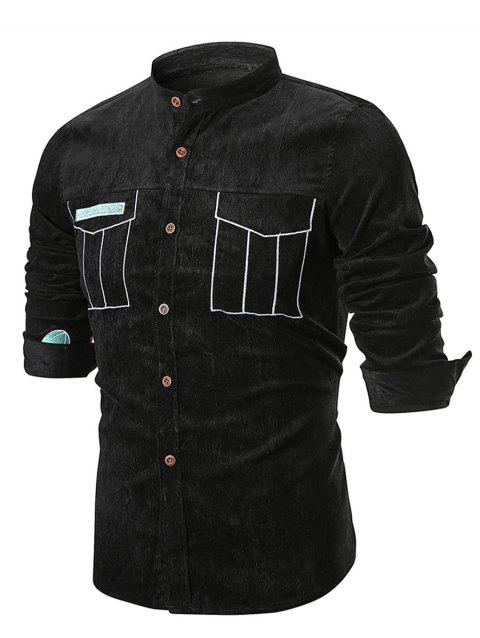 Corduroy Applique Long Sleeve Shirt - BLACK L