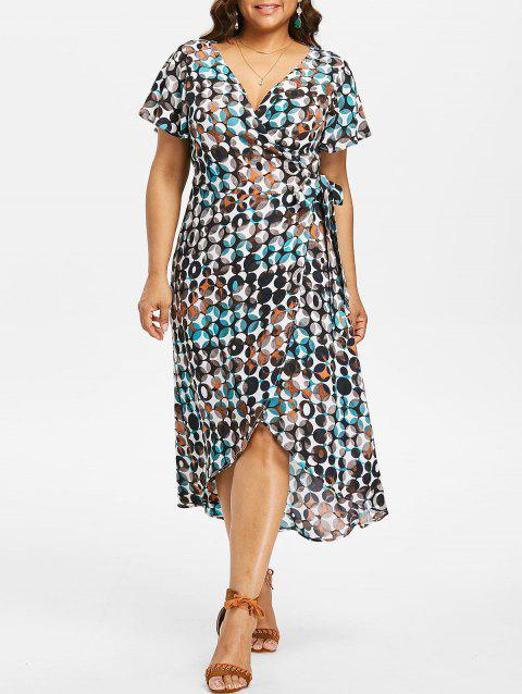 Plus Size Plunging Neck Overlap Dress - multicolor 3X