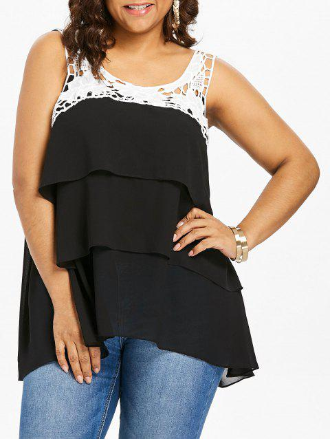 Plus Size Two Tone Tiered Tank Top - BLACK 5X