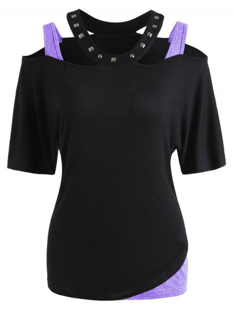 Rivet Collar Cold Shoulder T-shirt - PURPLE MIMOSA S
