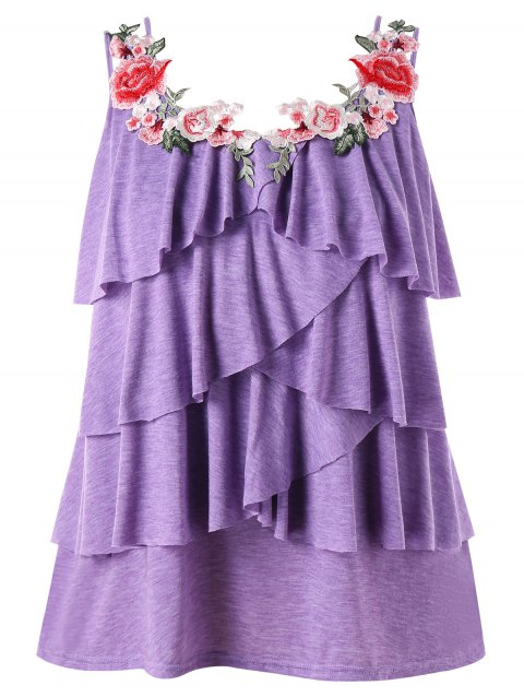 Plus Size Embroidery Layered Ruffle Tank Top - PURPLE MIMOSA 5X