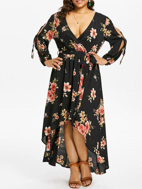 Plus Size Back Cut Out Floral Surplice Dress - BLACK 3X
