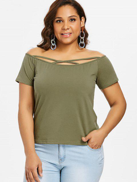 Plus Size Off Shoulder Criss Cross Tee - ARMY GREEN 1X