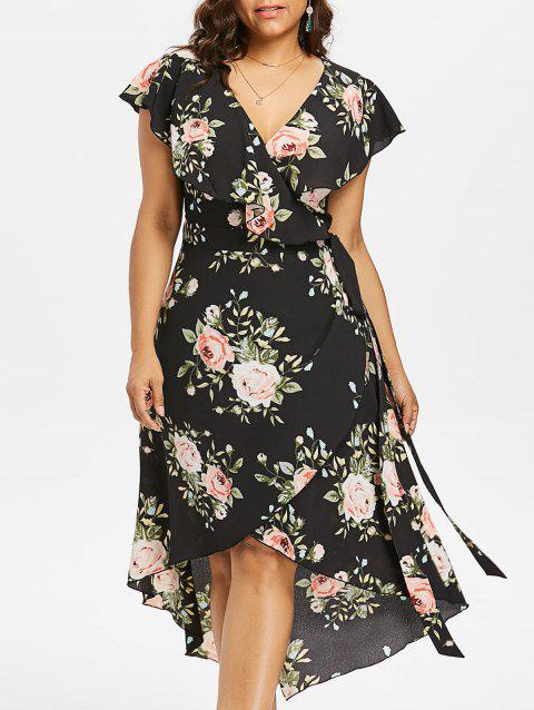 f85913318e95c LIMITED OFFER  2019 Plus Size Floral Flowing Overlap Tulip Dress In ...
