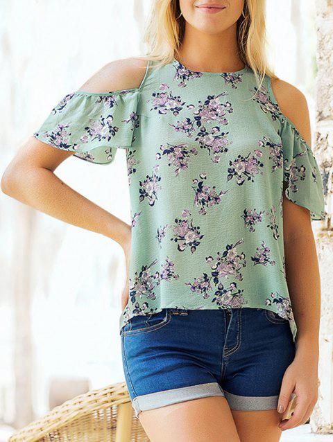 Floral Print Cold Shoulder Summer Blouse - MACAW BLUE GREEN XL