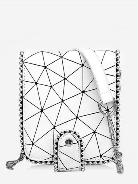 Daily Casual Beaded Geometric Pattern Sling Bag - WHITE