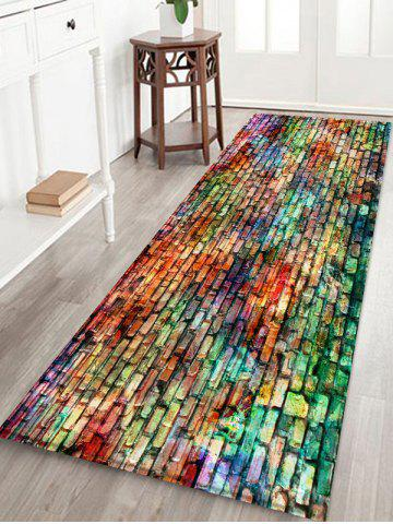 Colorful Brick Printed Coral Fleece Floor Rug