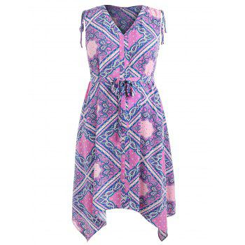 Plus Size Geometric Pattern Asymmetrical Dress - PURPLE FLOWER 4X