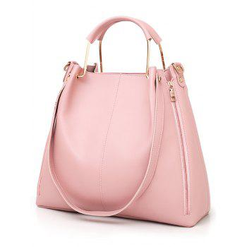 Top Handle Faux Leather Multi Functions 3 Pieces Tote Bag Set - PINK